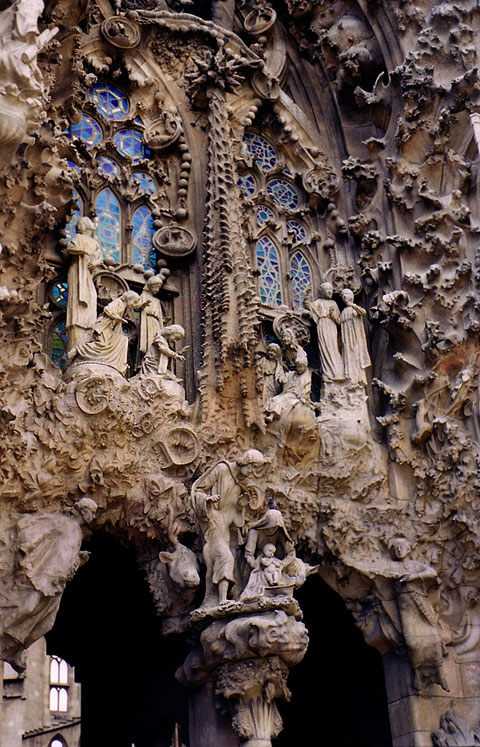 Detail of a facade from the Temple de la Sagrada Familia