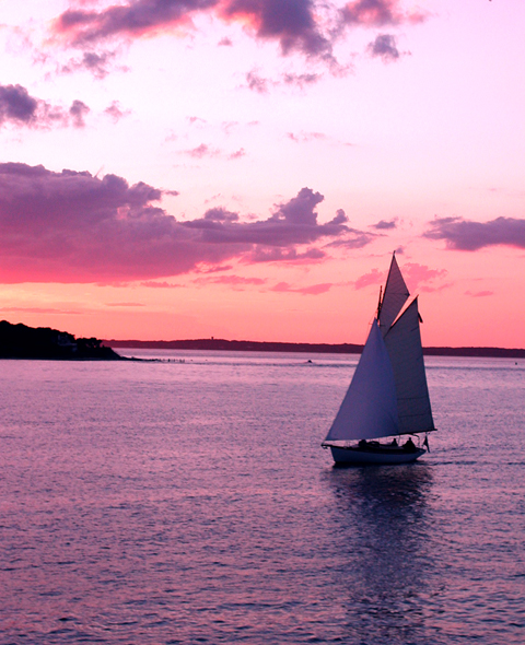 Sailboat entering Vineyard Haven