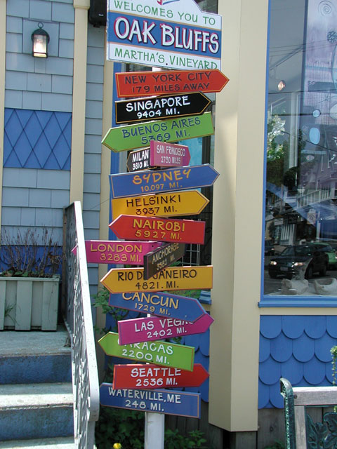 Signpost in Oak Bluffs