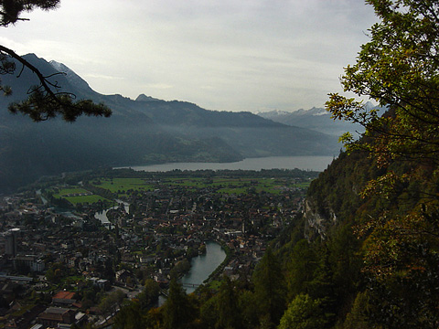 View of Interlaken with Thun Lake in the background