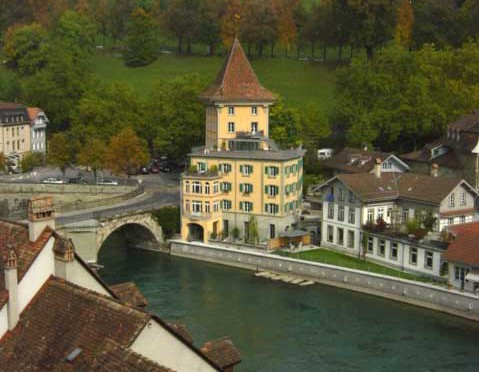 The building on the west side of the Untertorbrücke, the oldest bridge in Bern