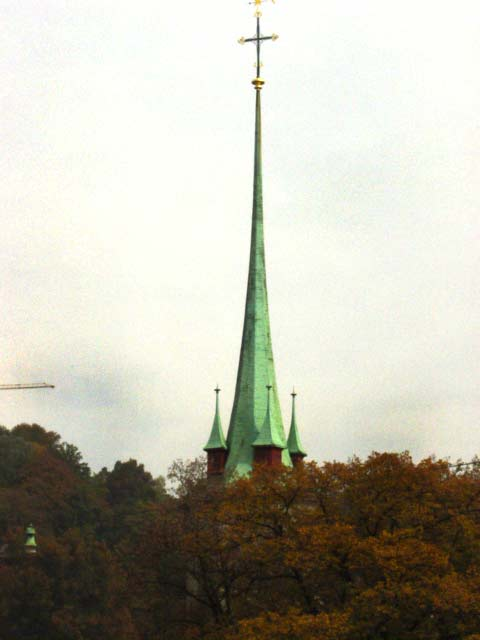 Copper spires of the churches throughout Bern