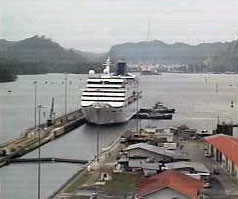 Tugs getting the boat ready to enter the Miraflores lock