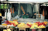 Typical roadside stand features fresh fruit and vegetables.