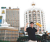 The author in front of the Hotel Lisboa