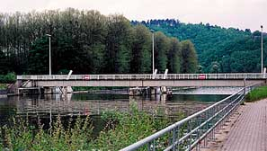 Steel bridge over the Muese in Houx