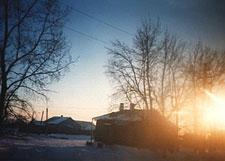 Sunrise over village